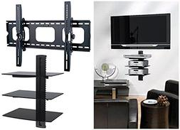 2xhome - TV Wall Mount with Shelf Up to 85 inches tv Floatin