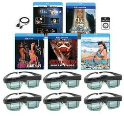 3 3D Blu-ray & 6 3D Glasses pack For MITSUBISHI 3-D Adapter