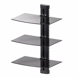 3 TIER GLASS SHELF WALL MOUNT UNDER TV CABLE BOX COMPONENT D