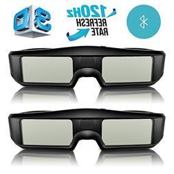 ExquizOn 3D Glasses 2 Packs 120Hz Active Shutter Rechargeabl