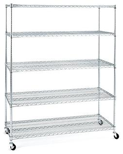 Seville Classics 5-Shelf Steel Wire Shelving System with Cas