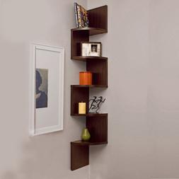 5 Tier Corner Shelf Wall Mount Zig Zag Storage Rack Shelves