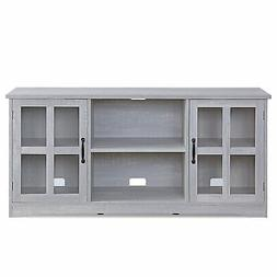 """52 Inch TV Stand Wood & Glass Console For TVs Up To 60"""""""