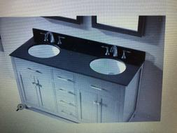 60 Inch Double Sink Black Granite Bathroom Vanity Countertop