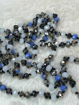 60 inch Necklace - 8mm Bead in Black, White and Blue