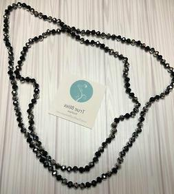 60 inch Necklace Black and Silver