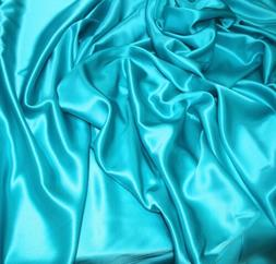60 inch wide turquoise silk satin fabric