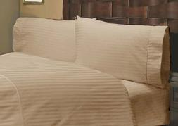 600 Thread Count 100% Egyptian Cotton Stripe Taupe Expanded