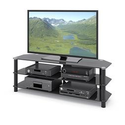CorLiving TRA-704-T Trinidad Black Glass TV/Component Stand