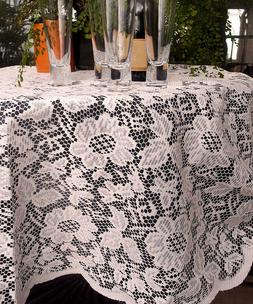 FancySupply 60-Inch Ivory Floral Lace Round Tablecloth Overl