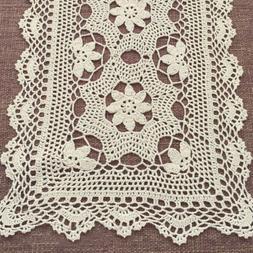 Hand Crochet Floral Table Runner Beige/Ecru Vintage Flower L