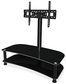 Mount-It! TV Stand with Mount and Glass Shelves for Audio Vi