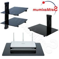 AV DVD SHELF Wall Mount Single Dual Glass TV Component Cable