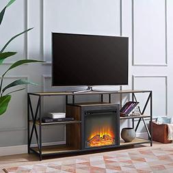 """WE Furniture AZ60FPMAINBW Fireplace TV Stand, 60"""", Barnwood"""