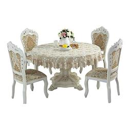 QXFSMILE Beige Lace Tablecloth Embroidered Dandelion Table C
