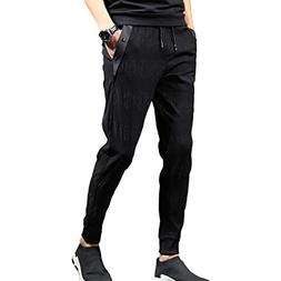CNMUDONSI Black Cargo Pants Men's Loose Fit Slim Casual Yout