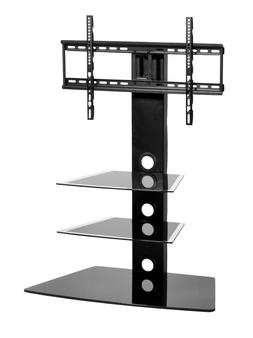 Black Glass Floor TV Stand Universal With Mount for 32-55 in