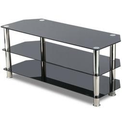 Black Glass TV Stand Chrome Legs 3 Tier Storage Shelves for