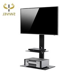 Rfiver Black Floor TV Stand with Universal Swivel Bracket Mo