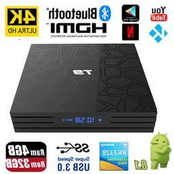 Bluetooth T9 Android 8.1 Smart TV Box Rockchip 4GB 32GB 4K M