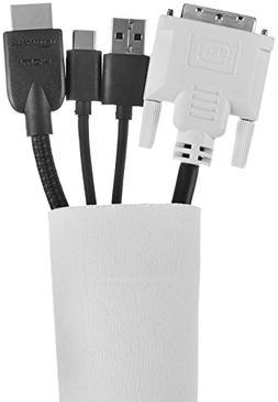 AmazonBasics Cable Sleeve - Velcro, 60-Inch, White