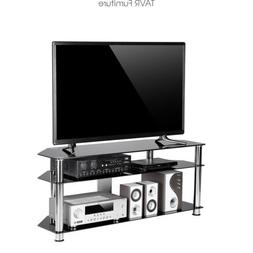 TAVR Black Tempered Glass Corner TV Stand Cable Management S