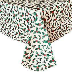 Lintex Christmas Holly Print Holiday Fabric Tablecloth, Xmas