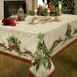 christmas ribbons engineered printed fabric tablecloth 60x12