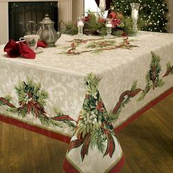 Christmas Tablecloth Ribbons Engineered Printed Fabric Benso