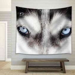 Wall26 - Close Up on Blue Eyes of a Husky Dog Fabric Wall -