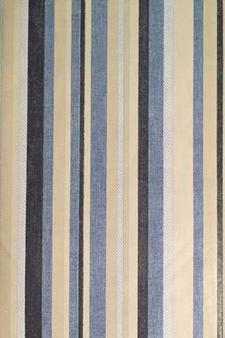 Coastal Blue Beige Striped Vinyl Flannel Back Tablecloth 60