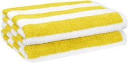 AmazonBasics Beach Towel - Cabana Stripe, Yellow, Pack of 2