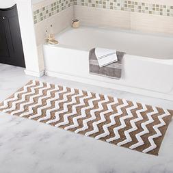 Bedford Home 100% Cotton Chevron Bathroom Mat - 24x60 inches