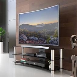 FITUEYES Tempered Glass Curved TV Stand in Black Suit for LE