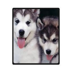 Custom cute white black husky/huskie dogs baby Super Soft Wa