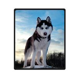 Custom white black husky/huskie dogs Super Soft Warm Fleece