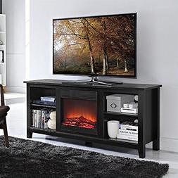 Walker Edison Essential 58 Wood TV Stand w/Fireplace Black