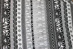 Fabric knit light weight black white boho geometric 60 inch