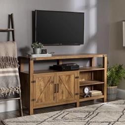 Farmhouse TV Stand Console For 60 Inch TV Rustic Barn Door E