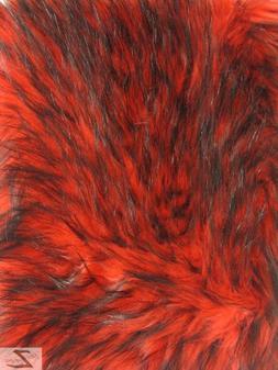 FAUX FAKE FUR ARCTIC ALASKAN HUSKY LONG PILE FABRIC - Red -