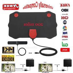 Flat Indoor Digital TV Antenna 200 Mile Range 1080P Signal B