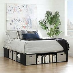 South Shore  Flexible Black Oak Queen Platform Bed With Stor