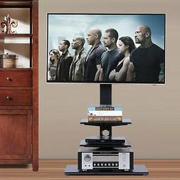 Rfiver Swivel Floor TV Stand with Mount and Three Shelves fo