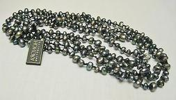 Honora Collection Freshwater Black Pearl Necklace with 925 S