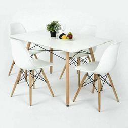 Premium White DSW Dowel Wood Leg Side Chair Mid Century Mod
