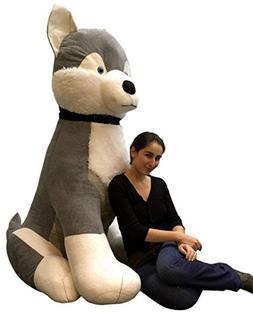 Giant Stuffed Husky 5 Feet Tall Soft 60 Inches Huge Big Plus