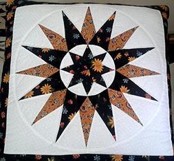 Handmade Amish Orange Floral Star Quillow