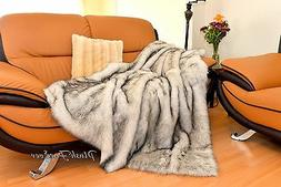Huskie Faux Fur Black-Brown Tip Polar Bear Comforters Throws