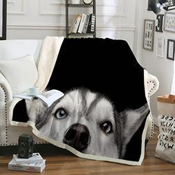 Sleepwish Husky Dog Throw Blanket Black White Puppy Dog Sher