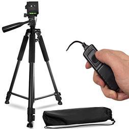 """60"""" Inch Lightweight Aluminum Camera Tripod + Remote Shutter"""